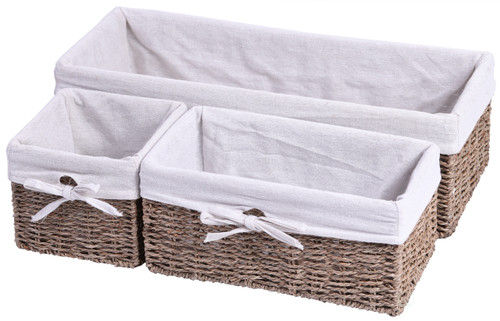 Seagrass Shelf Storage Baskets with Lining