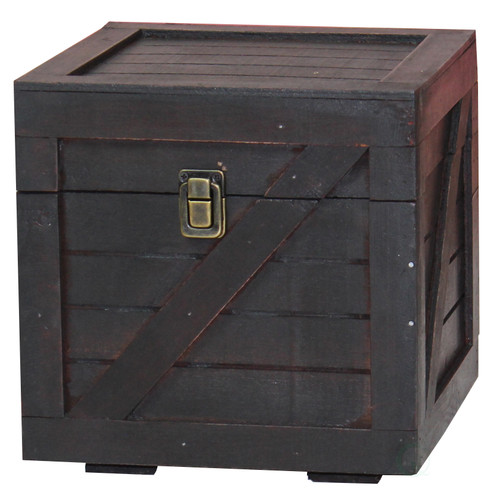 Rustic Gray Cabinet Storage Chest With 6 Crate Style