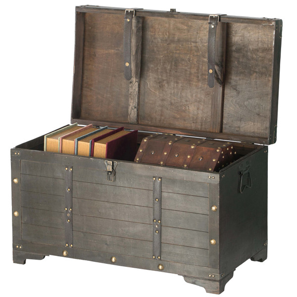 Brown Large Wooden Storage Trunk With Lockable Latch Vintiquewise