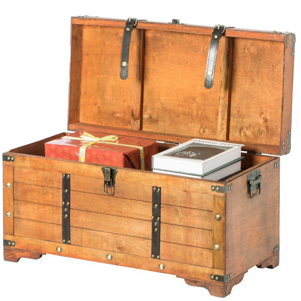 Rustic Large Wooden Storage Trunk With Lockable Latch Vintiquewise