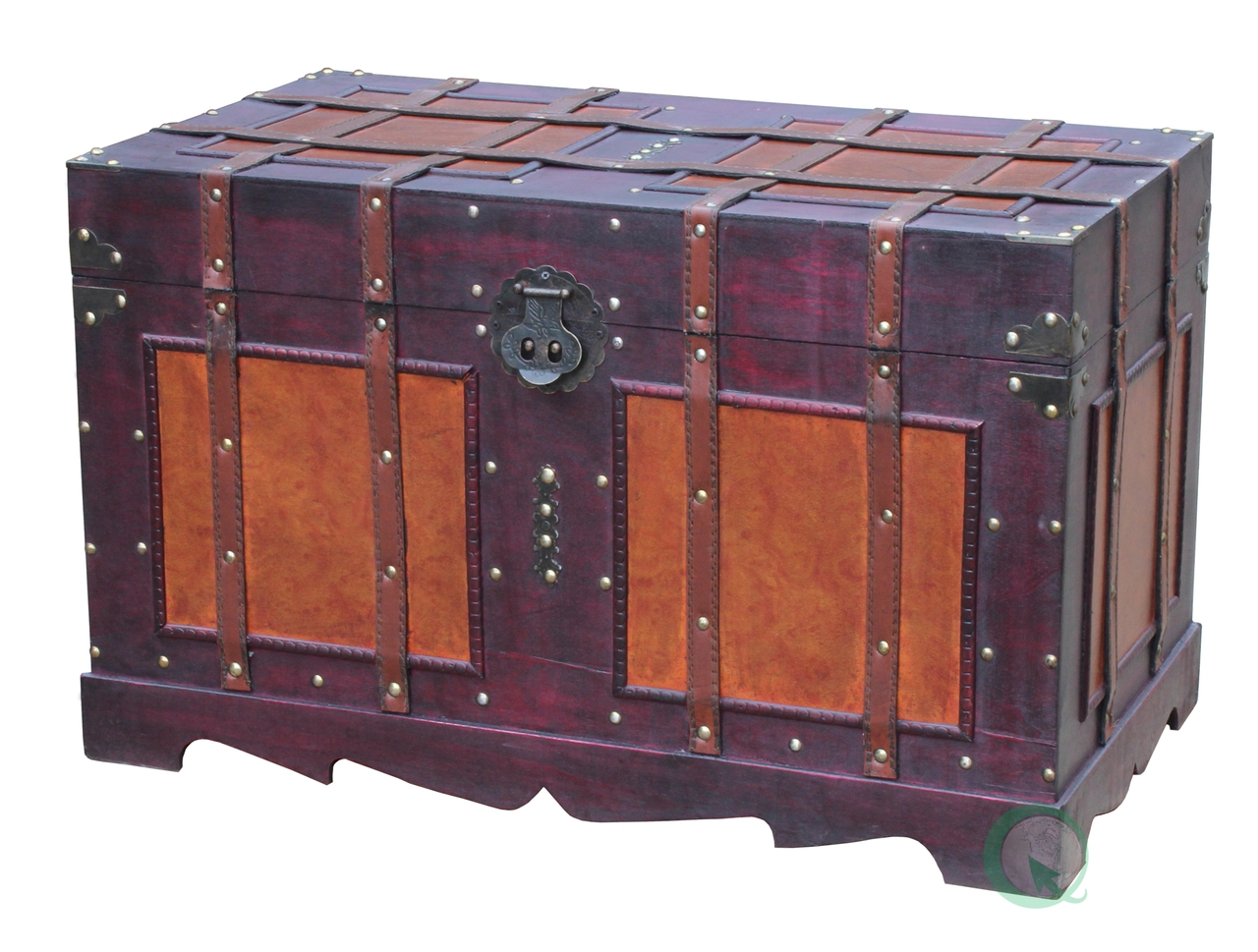 New Large Antique Style Steamer Trunk Decorative Storage Box QI003318L