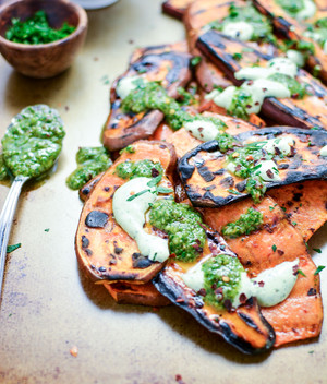 Grilled Sweet Potatoes with Cilantro Cream and Quick Chimichurri