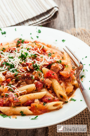 PENNE WITH SUN DRIED TOMATO VODKA SAUCE