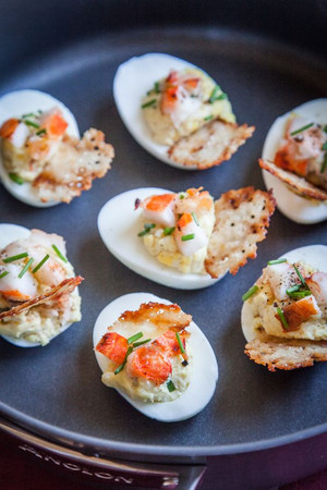 Lobster & Chives Deviled Eggs with Truffle Salt & Parmesan Crisp