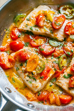 Tilapia in Tomato Basil Sauce