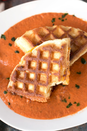 Cornbread Waffle Grilled Cheese Sandwich with Tomato Basil Soup