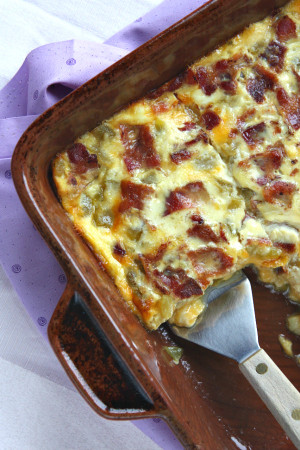 GREEN CHILE AND CHEESE EGG BAKE