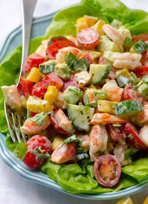 Shrimp Avocado Tomato Salad with Greek Yogurt Dressing