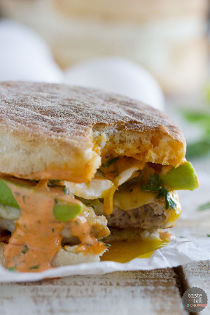 Sausage and Egg Breakfast Sandwich Recipe with Sriracha Cilantro Mayonnaise