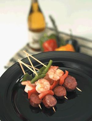 Andouille Sausage & Shrimp Kabobs - 25 pieces per tray