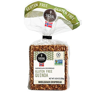 Sigdal Bakeri Gluten Free Sunflower Seeds & Quinoa Wholegrain Crispbread 8.29oz Bags - Pack of 12