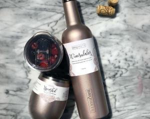 Winesulator + 2 Uncork'd XL Wine Glasses/Lid | GLITTER ROSE GOLD | BrüMate