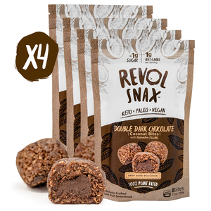 DOUBLE DARK CHOCOLATE BITES - 4 Pack Revol Snax