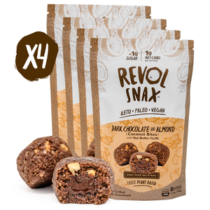 DARK CHOCOLATE ALMOND BUTTER BITES - 4 Pack Revol Snax