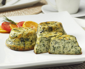 Crustless Quiche: Sautéed Spinach & Swiss - includes 60