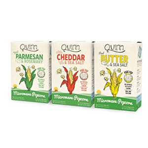 Quinn Snacks Microwave Popcorn Variety Pack (Butter & Sea Salt, White Cheddar, and Parmesan & Rosemary) {3 Pack}