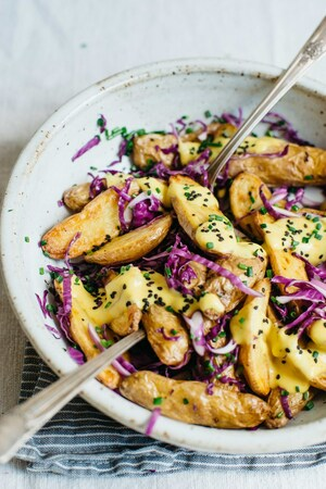 Warm Fingerling Potatoes w/ Garlic Turmeric Sauce