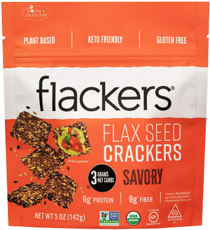 Doctor In The Kitchen, Flackers Organic Flax Seed Crackers, Savory Flaxseed, 5 oz