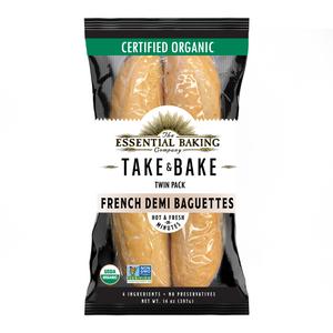 Take & Bake Organic Demi Baguettes-Twin Pack - Essential Baking