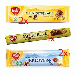 Freia Milk Chocolate ~ Variety Pack - 2 Melkesjokolade, 2 Firklover, 1 Melkerull