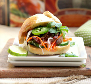 Crispy Duck Banh Mi Sliders with Pickled Carrot Radish Slaw and Spicy Aioli