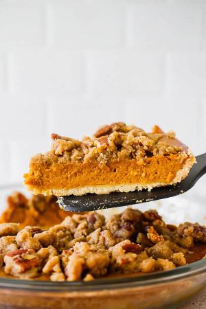 Bourbon Pumpkin Pie with a Salted Brown Butter Pecan Streusel