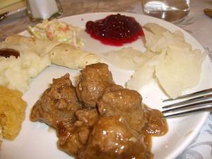 Lefse, Lutefisk Kjottboller Norwegian Meatballs - Dinner for 2