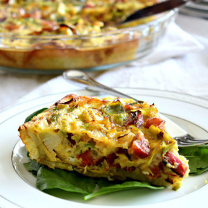 Brussels, Sausage & Bacon Quiche with Sweet Potato Crust