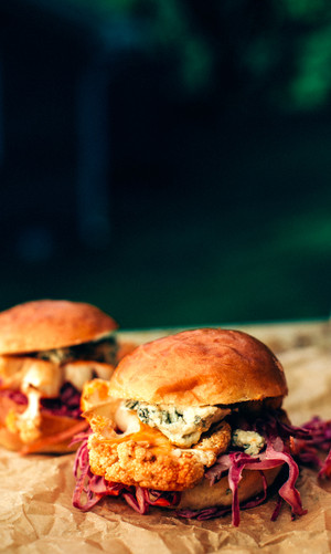 Buffalo Cauliflower Sliders with Slaw + Blue Cheese