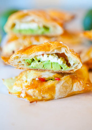 Avocado, Cream Cheese, and Salsa Stuffed Puff Pastries