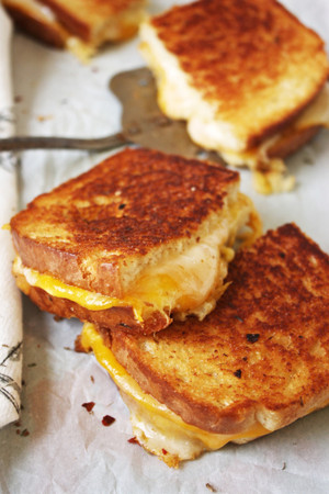 Fancy Grilled Cheese w/ Red Pepper Flakes