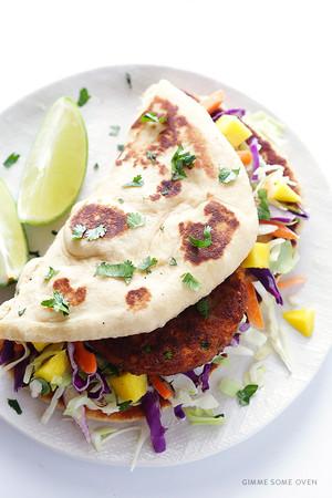 Homemade Naan Veggie Wrap