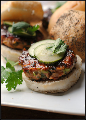 Hoisin Glazed Salmon Burgers with Pickled Cucumber