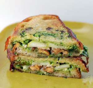 Anjou Pear, Caramelized Walnuts and Arugula Pesto Mayo Panini