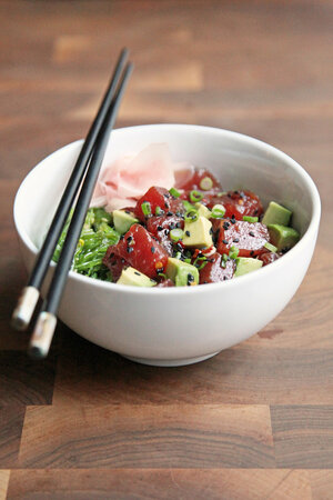 Ahi Tuna Poke Bowl With Avocado