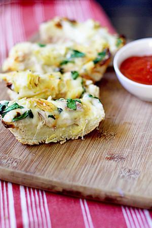 Chicken Artichoke and Spinach French Bread Pizza