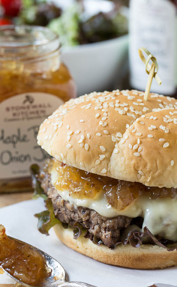 Burgers with Maple Bacon Onion Jam
