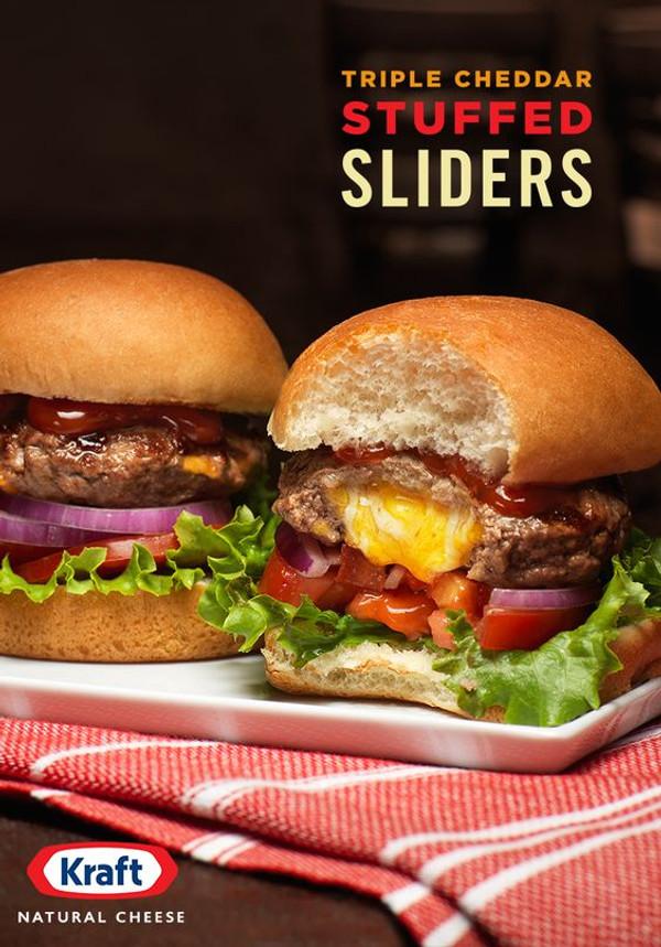 Triple Cheddar Stuffed Sliders - 1 Dozen