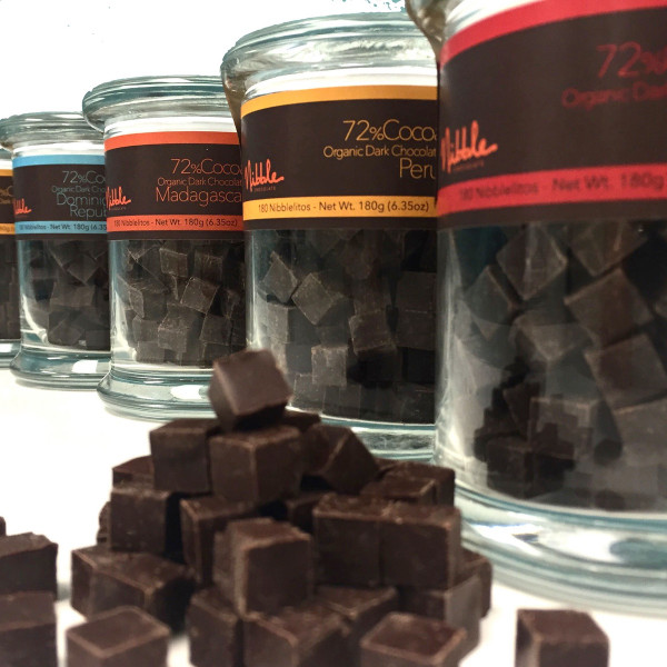 4 Nibblelitos glass jars 72% Cocoa Dark Chocolate from different origins