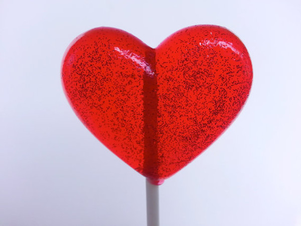Glitter Heart Lollipops - Six Included - Many Flavors / Colors