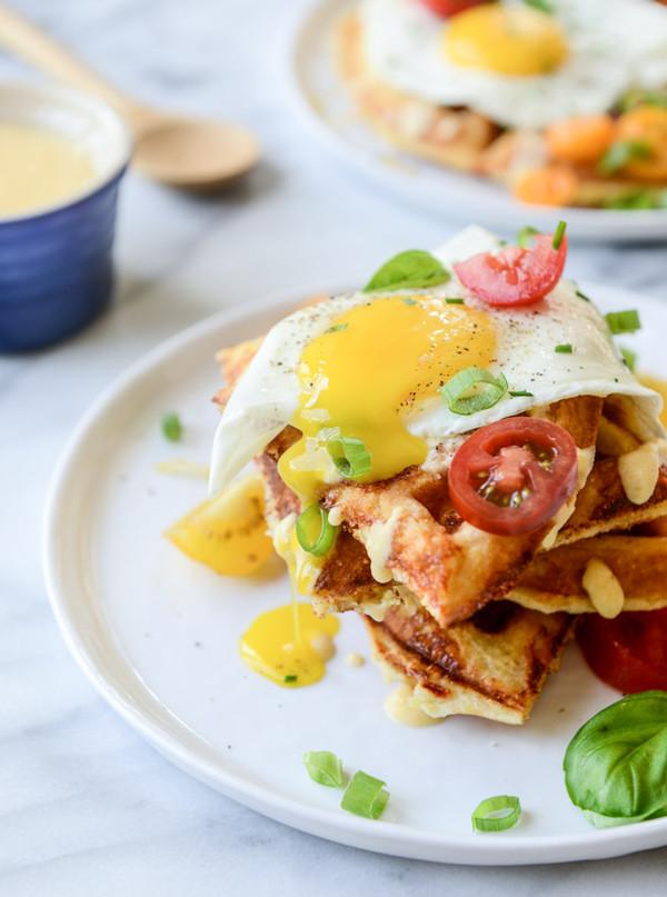 Cheddar Cornbread Waffles with Fried Eggs