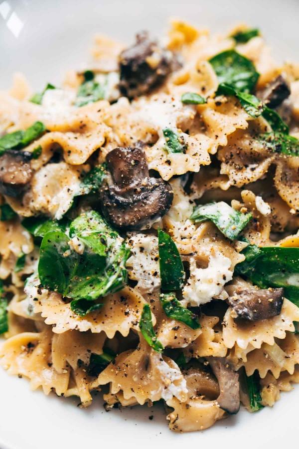 Mushroom Pasta with Goat Cheese