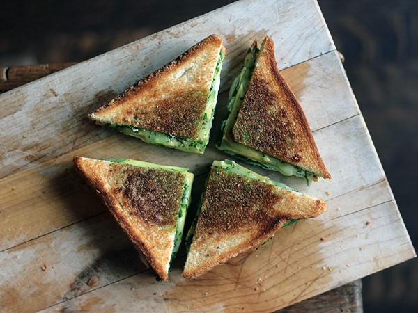 Herb Pesto, Mozzarella, Baby Spinach, Avocado Grilled Cheese Sandwich