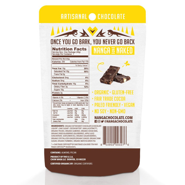 Nuts Berries Turmeric Organic Dark Chocolate Bark / 12 Pack