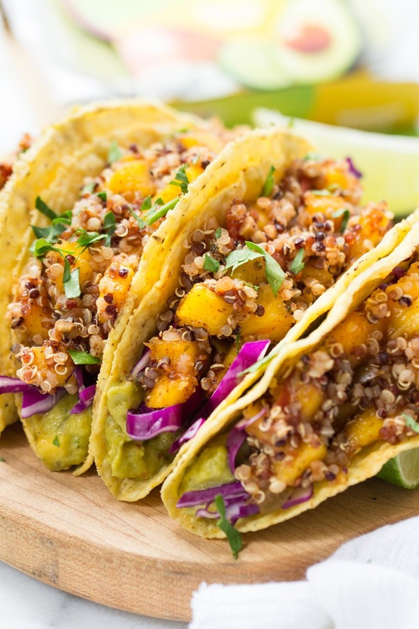 Mango Jalapeno Lime Quinoa Tacos