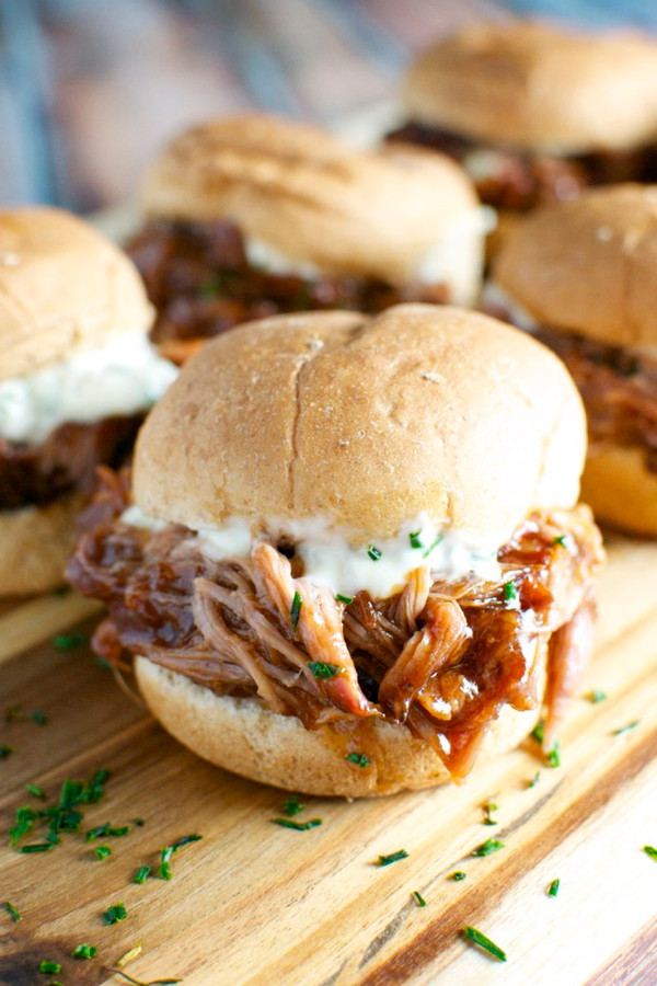 Pulled Pork Sliders with Garlic Aioli & Bacon BBQ Sauce