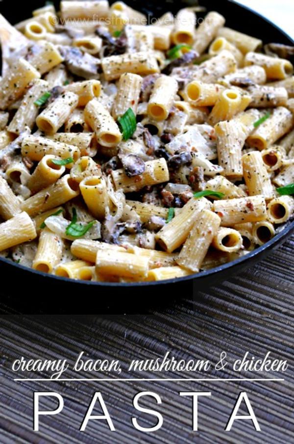 Creamy Bacon, Mushroom Chicken Pasta