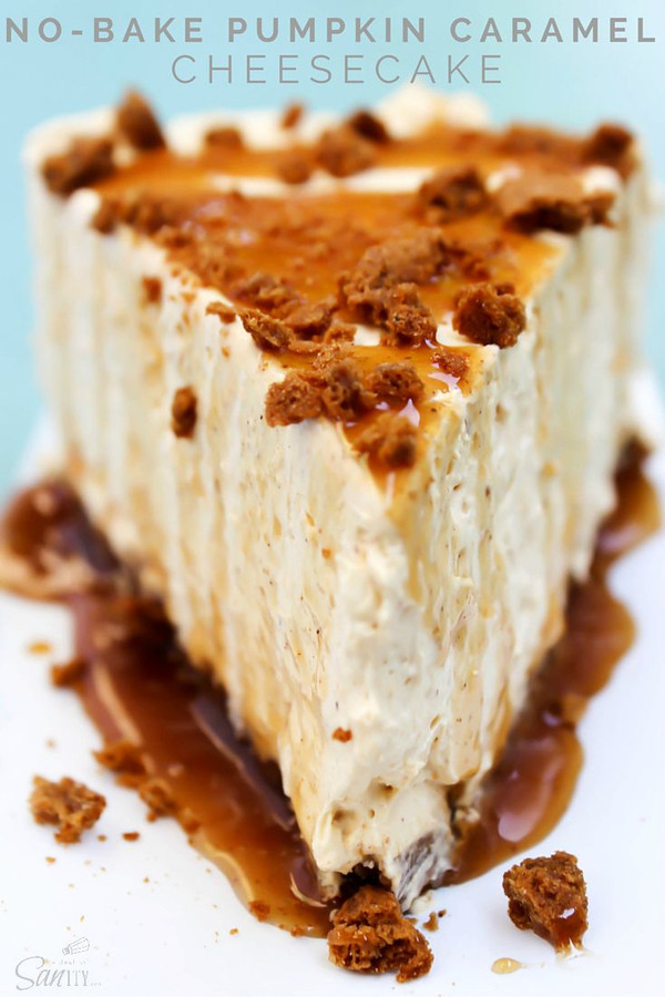 No Bake Pumpkin Caramel Cheesecake