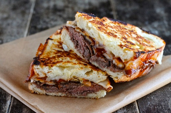 Roast Beef Grilled Cheese w/ BBQ Sauce
