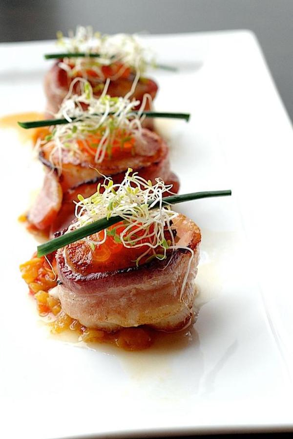 Bacon Wrapped Bay Scallops - 48 pieces per tray